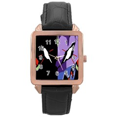 Monster Face Drawing Paint Rose Gold Leather Watch