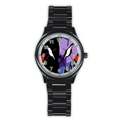 Monster Face Drawing Paint Stainless Steel Round Watch