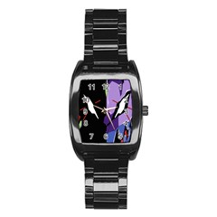 Monster Face Drawing Paint Stainless Steel Barrel Watch