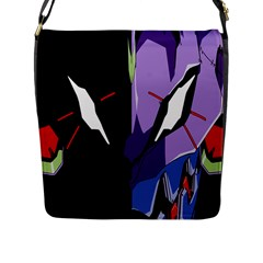 Monster Face Drawing Paint Flap Messenger Bag (L)