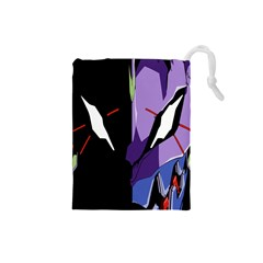 Monster Face Drawing Paint Drawstring Pouches (Small)