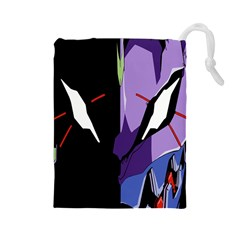 Monster Face Drawing Paint Drawstring Pouches (Large)