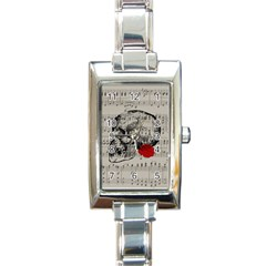 Skull and rose  Rectangle Italian Charm Watch