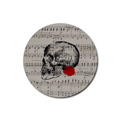Skull and rose  Rubber Round Coaster (4 pack)
