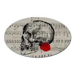 Skull and rose  Oval Magnet