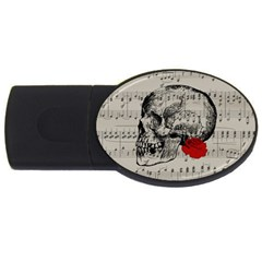 Skull and rose  USB Flash Drive Oval (1 GB)