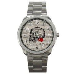Skull and rose  Sport Metal Watch