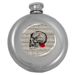 Skull and rose  Round Hip Flask (5 oz)