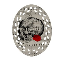 Skull and rose  Oval Filigree Ornament (Two Sides)