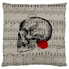 Skull and rose  Large Cushion Case (One Side)