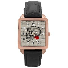 Skull and rose  Rose Gold Leather Watch