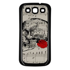 Skull and rose  Samsung Galaxy S3 Back Case (Black)