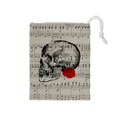 Skull and rose  Drawstring Pouches (Medium)