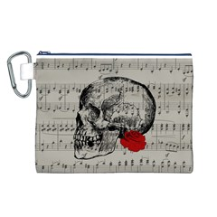 Skull and rose  Canvas Cosmetic Bag (L)
