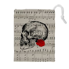 Skull and rose  Drawstring Pouches (Extra Large)