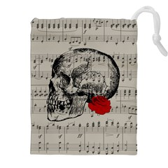 Skull and rose  Drawstring Pouches (XXL)