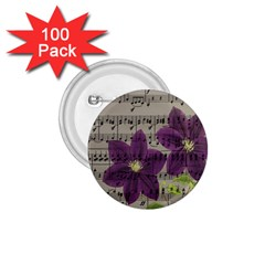 Vintage purple flowers 1.75  Buttons (100 pack)