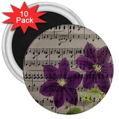 Vintage purple flowers 3  Magnets (10 pack)