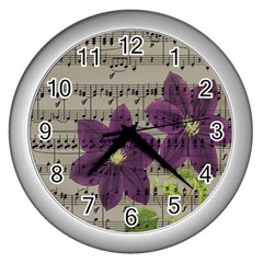 Vintage purple flowers Wall Clocks (Silver)