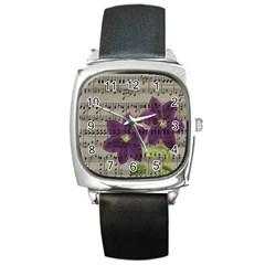 Vintage purple flowers Square Metal Watch