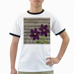 Vintage purple flowers Ringer T-Shirts