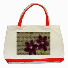 Vintage purple flowers Classic Tote Bag (Red)