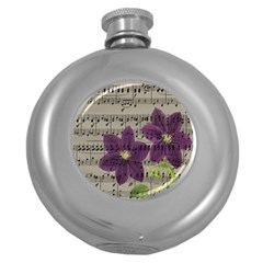 Vintage purple flowers Round Hip Flask (5 oz)