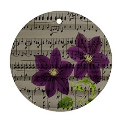 Vintage purple flowers Round Ornament (Two Sides)