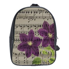 Vintage purple flowers School Bags(Large)