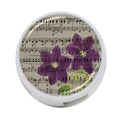 Vintage purple flowers 4-Port USB Hub (Two Sides)