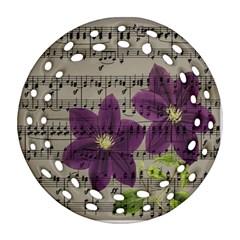 Vintage purple flowers Ornament (Round Filigree)