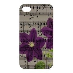 Vintage purple flowers Apple iPhone 4/4S Premium Hardshell Case