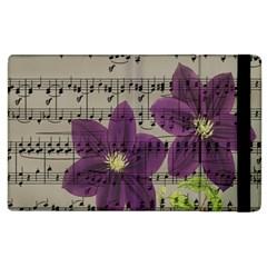 Vintage purple flowers Apple iPad 2 Flip Case