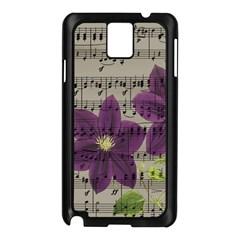 Vintage purple flowers Samsung Galaxy Note 3 N9005 Case (Black)