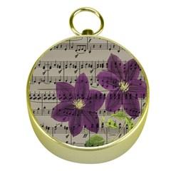 Vintage purple flowers Gold Compasses