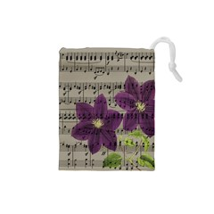 Vintage purple flowers Drawstring Pouches (Small)