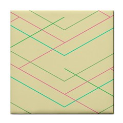 Abstract Yellow Geometric Line Pattern Tile Coasters