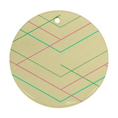 Abstract Yellow Geometric Line Pattern Ornament (Round)