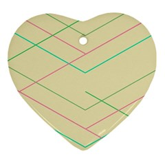 Abstract Yellow Geometric Line Pattern Ornament (Heart)