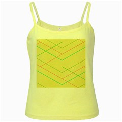Abstract Yellow Geometric Line Pattern Yellow Spaghetti Tank