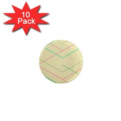 Abstract Yellow Geometric Line Pattern 1  Mini Magnet (10 Pack)