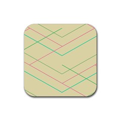Abstract Yellow Geometric Line Pattern Rubber Square Coaster (4 pack)