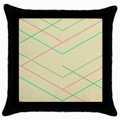 Abstract Yellow Geometric Line Pattern Throw Pillow Case (Black)