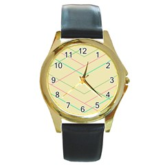 Abstract Yellow Geometric Line Pattern Round Gold Metal Watch