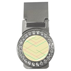 Abstract Yellow Geometric Line Pattern Money Clips (cz)