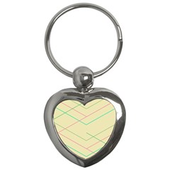 Abstract Yellow Geometric Line Pattern Key Chains (Heart)