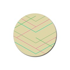 Abstract Yellow Geometric Line Pattern Rubber Coaster (round)