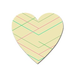 Abstract Yellow Geometric Line Pattern Heart Magnet