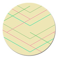 Abstract Yellow Geometric Line Pattern Magnet 5  (Round)