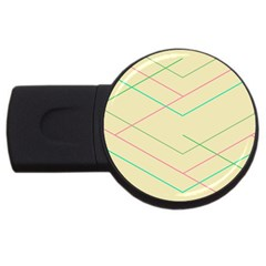 Abstract Yellow Geometric Line Pattern USB Flash Drive Round (2 GB)
